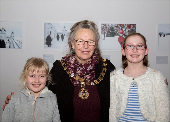 Lord Mayor Councillor Lesley Robson with two young guests at the Opening / Private Viewing of the Exhibition 'Exeter/Yaroslavl - A Photographic Essay of Two Cities' at Royal Albert Memorial Museum, Exeter. Photograph kindly sent by Jeremy Lees, who is a professional photographer — with Lord Mayor of Exeter at Royal Albert Memorial Museum.