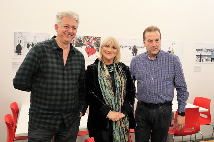 Marjia Lees with Exeter City Councillors Greg Sheldon and Philip Bialyk at the Opening / Private Viewing of the Exhibition 'Exeter/Yaroslavl - A Photographic Essay of Two Cities' at Royal Albert Memorial Museum, Exeter