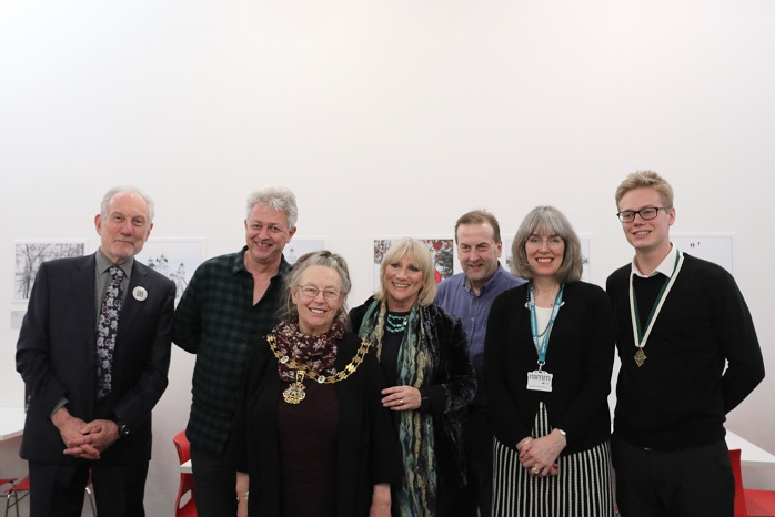 Peter Barker of Exeter Yaroslavl Twinning Association, Councillor Greg Sheldon, Lord Mayor Councillor Lesley Robson, Marjia Lees Photographer, Councillor Philip Bialyk, Camilla Hampshire Museums Manager and Councillor Luke Sills at the Opening / Private Viewing of the Exhibition 'Exeter/Yaroslavl - A Photographic Essay of Two Cities' at Royal Albert Memorial Museum, Exeter