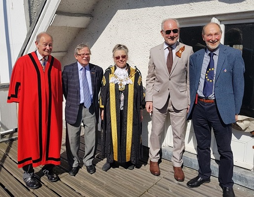 Europe Day - Alderman J.H. Coates, John Whitton, Lord Mayor of Exeter, Peter Barker, Roberto Franceschini — with Peter Barker and Titus Flavius Vespasian at Exeter Guildhall