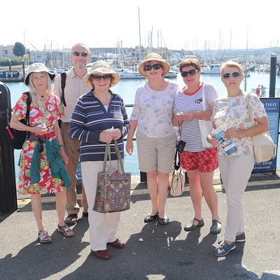 Yaroslavl Guests about to go on boat trip. — with Ludmilla Korbut at Plymouth Boat Trips
