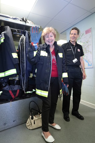 New recruit for Fire Service all the way from Yaroslavl — with Ludmilla Korbut at Danes Castle Fire Station
