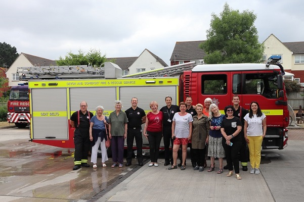 Yaroslavl guests meet Devon and Somerset Fire and Rescue — with Ludmilla Korbut and Nina Chernushkina at Danes Castle Fire Station