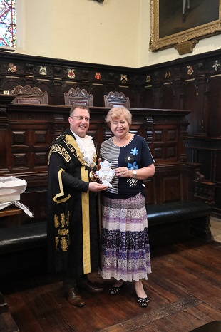 Presentation to Lord Mayor of Exeter by leader of Yaroslavl Delegation — with Ludmilla Korbut and Lord Mayor of Exeter at Exeter Guildhall
