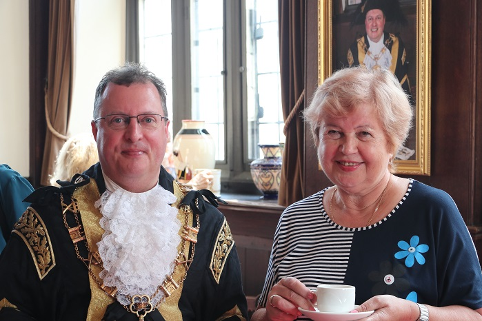 Ludmilla Korbut and Lord Mayor of Exeter at Exeter Guildhall