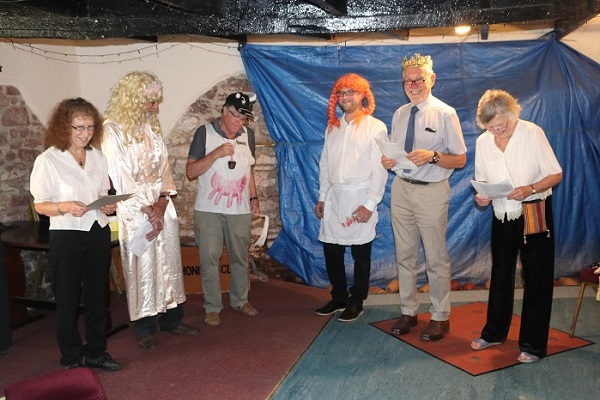Another picture of the short sketch 'The Kings Breakfast' we put on for our Russian guests. In the picture from left to right, Pauline, Doug, John, Christopher, Peter and Angela — at The New Inn