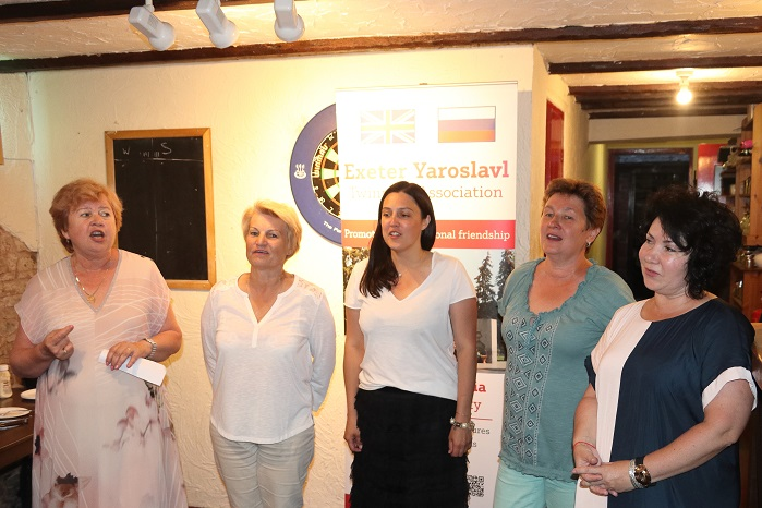 Our Yaroslavl guests sing traditional Russian songs for us. — with Nina Chernushkina, Ludmilla Korbut and ирина ефимова at The New Inn Broadclyst