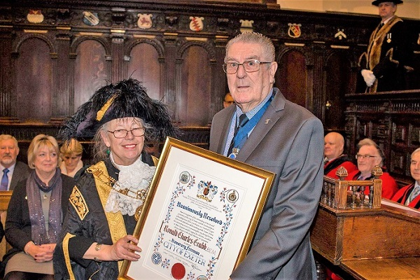 Ron Crabb BEM receives his Freedom of the City of Exeter at the ancient Guildhall. — at Exeter Guildhall