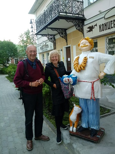 John and Joyce Exeter Yaroslavl Twinning Association members visiting Yaroslavl. — with Галина Жиганова and Нина Иванова in Yaroslavl