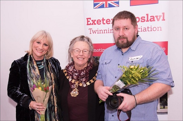 Lord Mayor of Exeter Councillor Lesley Robson, with photographers Marija Lees and Aleksei Lobanov at the Opening / Private Viewing of the Exhibition 'Exeter/Yaroslavl - A Photographic Essay of Two Cities' at Royal Albert Memorial Museum, Exeter. Photograph kindly sent by Jeremy Lees, who is a professional photographer
