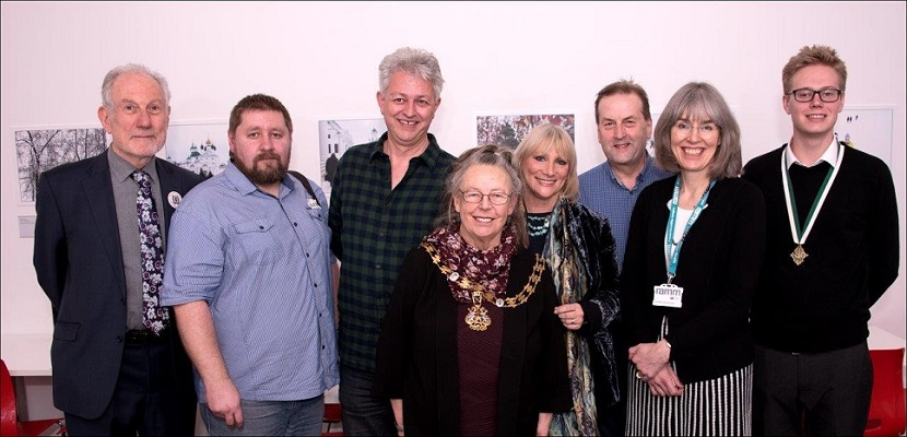 Lord Mayor of Exeter Councillor Lesley Robson with Peter Barker, Алексей Лобанов , Councillor Greg Sheldon, Marija Lees, Councillor Philip Bialyk, Camilla Hampshire (Museum's Manager) and Councillor Luke Sills at the Opening / Private Viewing of the Exhibition 'Exeter/Yaroslavl - A Photographic Essay of Two Cities' at Royal Albert Memorial Museum, Exeter. Photograph kindly sent by Jeremy Lees, who is a professional photographer