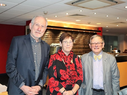 Deputy Lord Mayor of Exeter - Councillor Rachel Lyons at Exeter Yaroslavl Twinning Association Russian Xmas Dinner at @34 Restaurant, Exeter College, with Peter Barker, Chairperson Exeter Yaroslavl Twinning Association and John Whitton, Chairman Exeter Twinning Circle