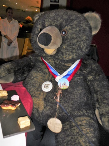 Our Russian Bear at our Russian Xmas Dinner. We often use him for 'Name the Bear' children's competitions