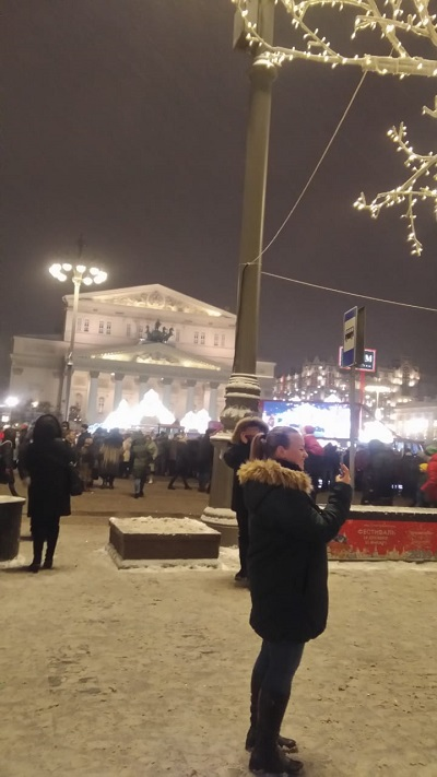 Another of Ludmila's Moscow pictures. Building in background is famous Bolshoi Theatre