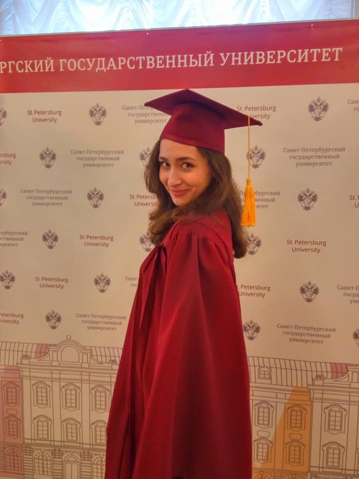 Our friend Viktoriya Kuznetsova at her graduation in St. Petersburg.  She is from Yaroslavl but has been St Petersburg University in St Petersburg.  Viktoriya has friends in Exeter and has been here several times.  Congratulations from us all to Viktoriya