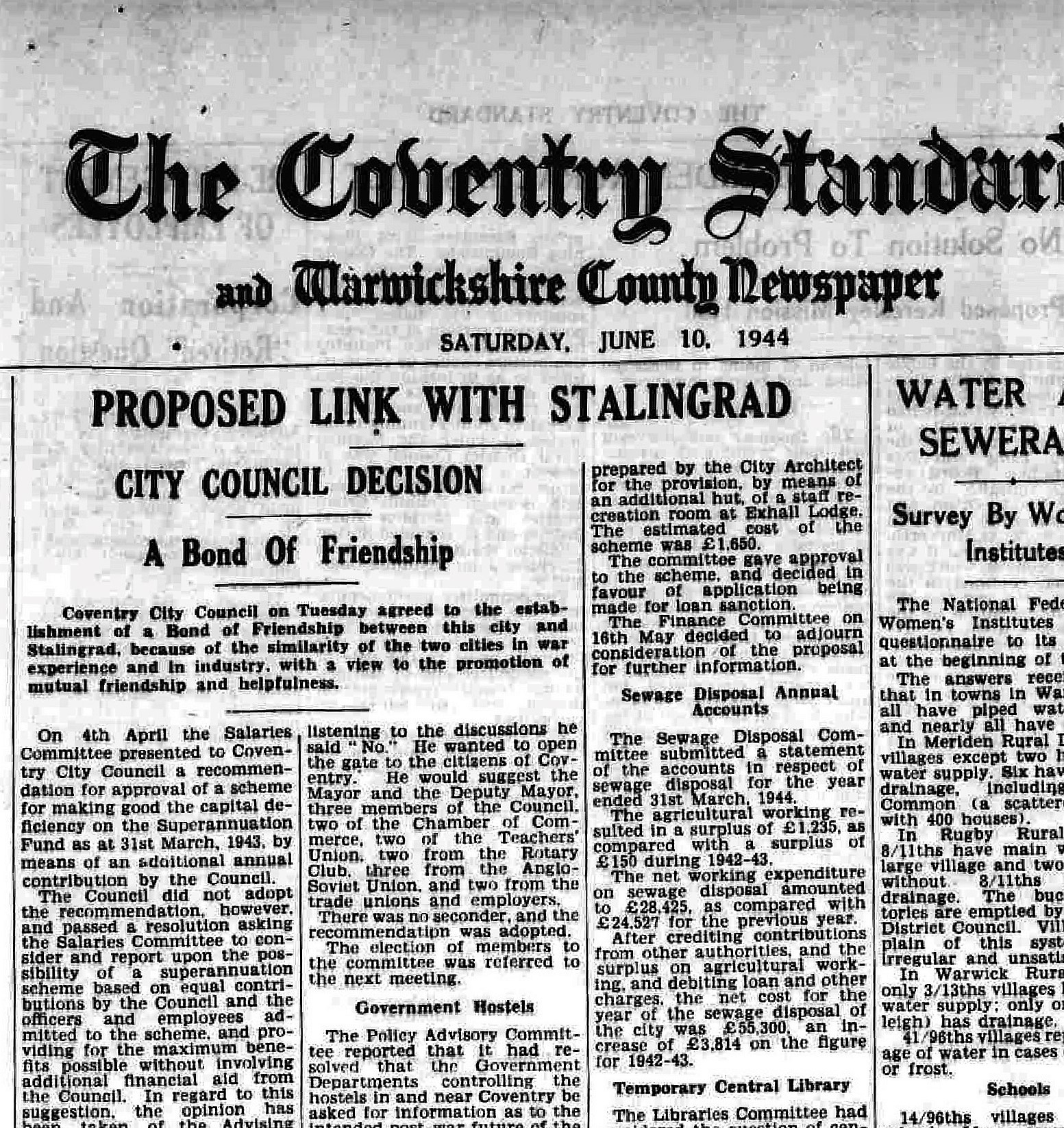 Front Page Coventry Standard 10 June 1944